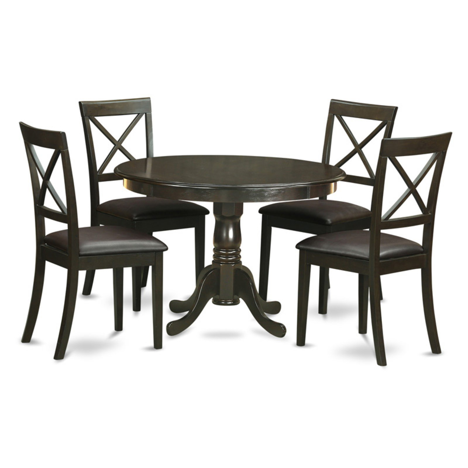 East West Furniture Hartland 5 Piece Round Pedestal Dining Table Set with Boston Chairs