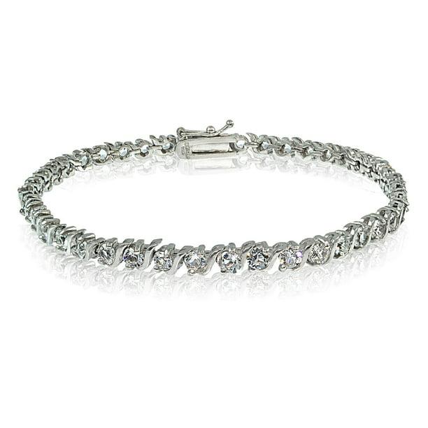 Sterling Silver Swarovski Elements S Design Tennis Bracelet