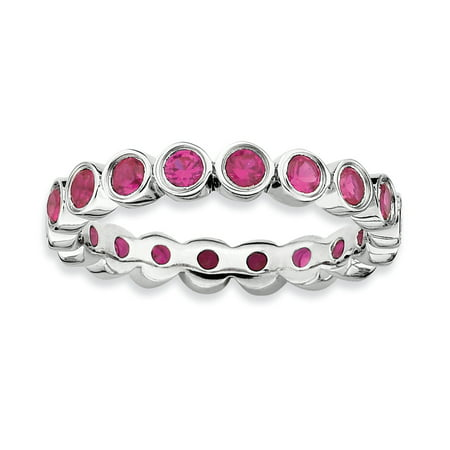 Sterling Silver Stackable Expressions Created Ruby Ring Size 7 - image 3 of 3
