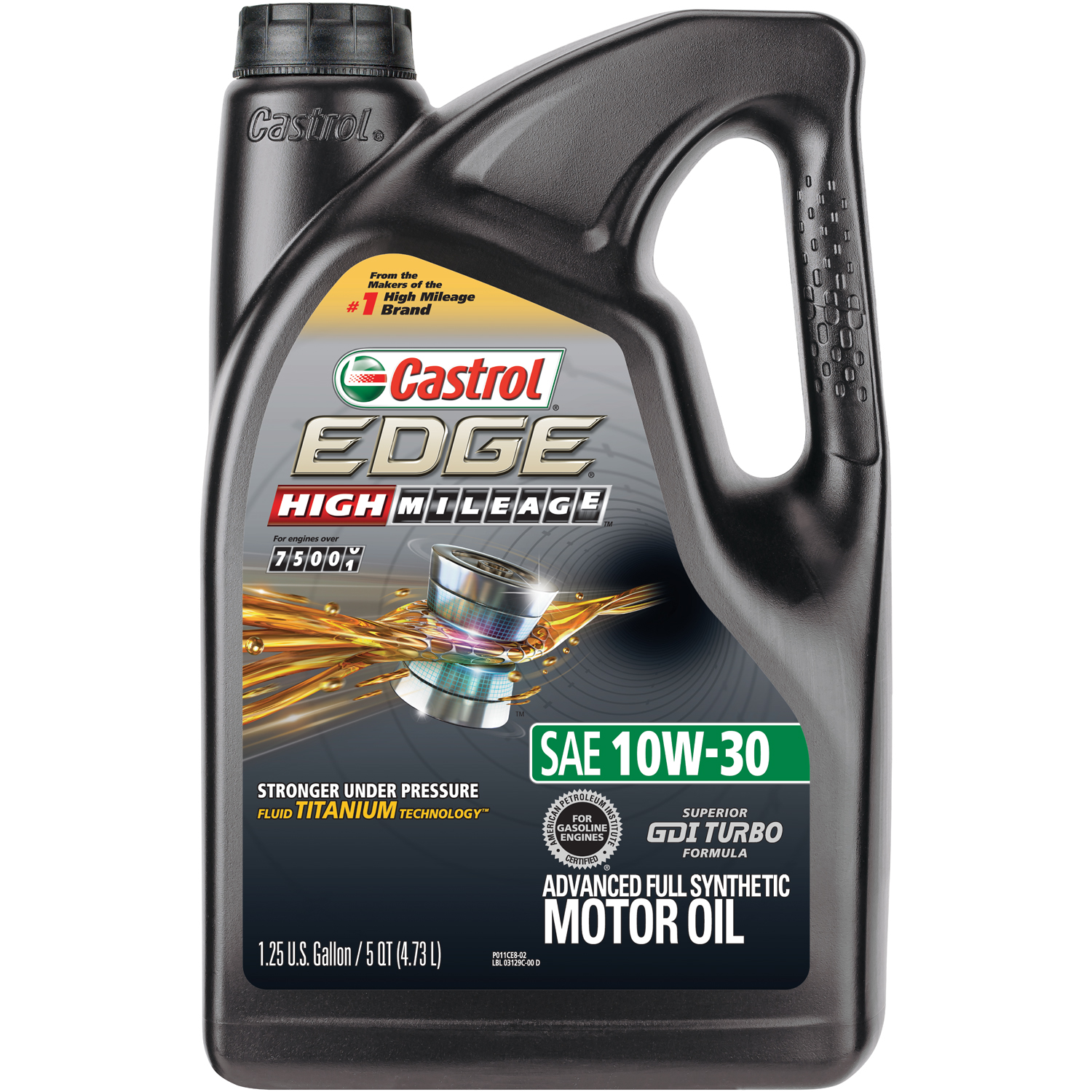 (3 Pack) Castrol EDGE High Mileage 10W-30 Advanced Full Synthetic Motor Oil, 5 QT
