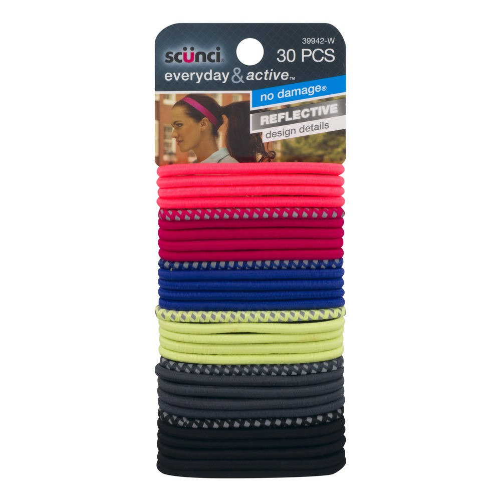 Scunci Everyday & Active Hair Ties, Colors, 30 Ct