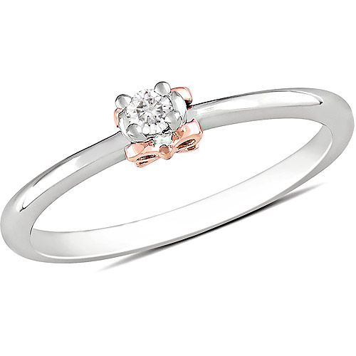 Miabella Diamond-Accent Ring in Sterling Silver with 14kt Pink Gold over Sterling Silver Bow Accents