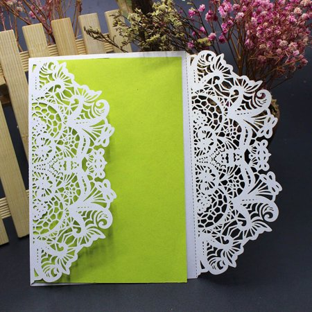 10Pcs Wedding Invitation Card Kit with Envelopes Seals Personalized Printing - Personalized Ribbon Printing