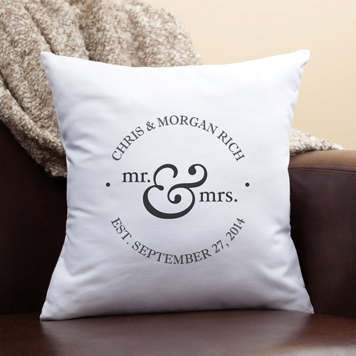 Personalized Mr. and Mrs. Throw Pillow