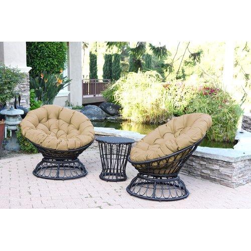 Jeco Inc. Papasan Espresso Wicker Swivel Chair and Table ...