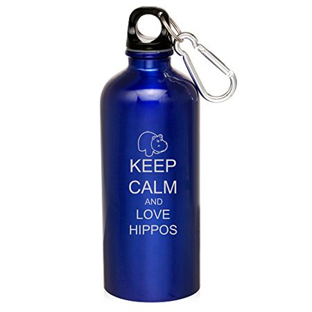 20oz Aluminum Sports Water Bottle Caribiner Clip Keep Calm and Love Hippos (Blue)