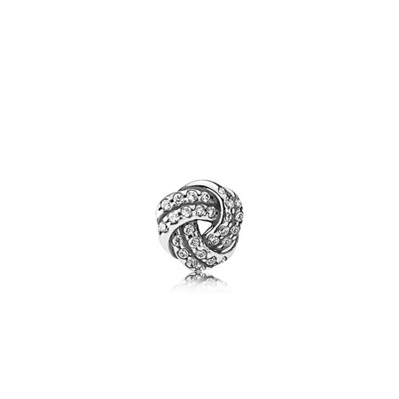Sterling Silver Monkey Charm - Love knot element in sterling silver w/27 flush-set clear CZ Charm 792179CZ