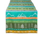 "72"" Green and Blue ""HAPPY CAMPER"" Printed Rectangular Table Runner"