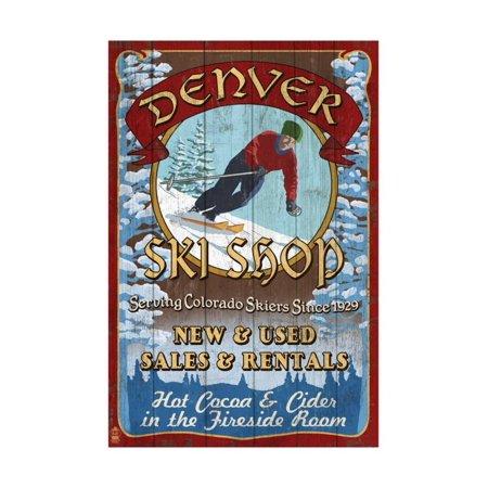 Denver, Colorado - Ski Shop Vintage Sign Print Wall Art By Lantern Press
