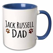 3dRose Jack Russell Dog Dad - Doggie by breed - muddy brown paw prints - doggy lover proud pet owner love - Two Tone Blue Mug, 15-ounce