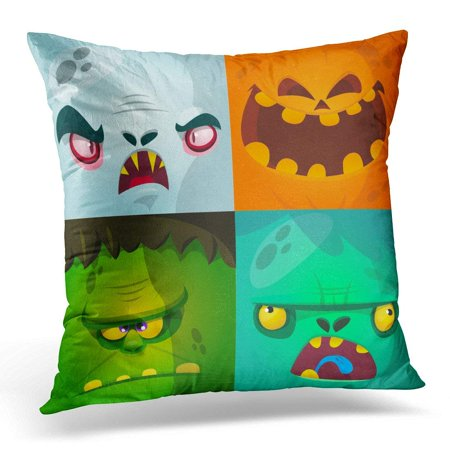 CMFUN Blue Halloween Cartoon Monster Faces Cute Avatars and Pumpkin Vampire Dracula Zombie Green Character Pillow Cover 16x16 Inches Throw Pillow Case Cushion - Vampires Halloween Cartoon