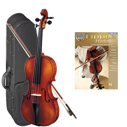 Strunal 260 Student Violin Fiddle Hymns Play Along Pack - 1/4 Size European Violin w/Case & Play Along Book