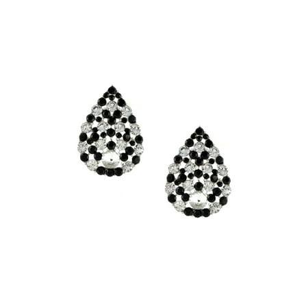 Silver Jet Rhinestone Pave Pear Teardrop Shaped Stud Earrings
