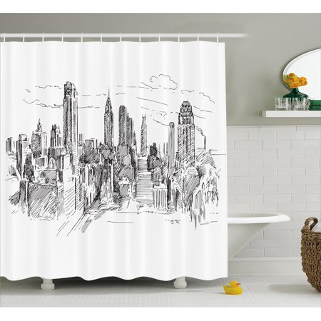 New York Shower Curtain, Hand Drawn NYC Cityscape Tourism Travel Industrial Center Town Modern City Design, Fabric Bathroom Set with Hooks, 69W X 70L Inches, Grey White, by Ambesonne