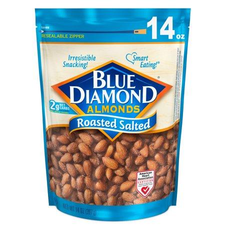 (2 Pack) Blue Diamond Almonds, Roasted Salted 14 oz