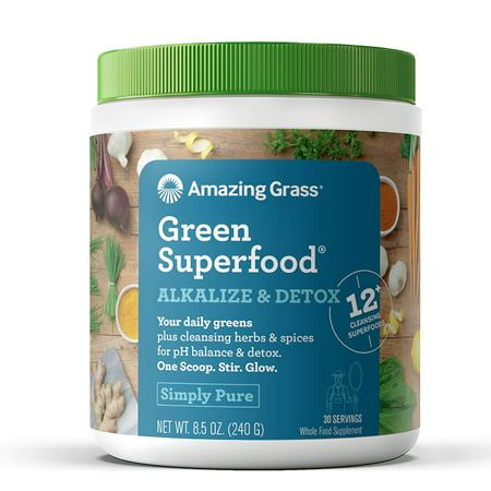 Amazing Grass Alkalize & Detox Green Superfood Powder, Simply Pure, 8.5 (Pure Green)