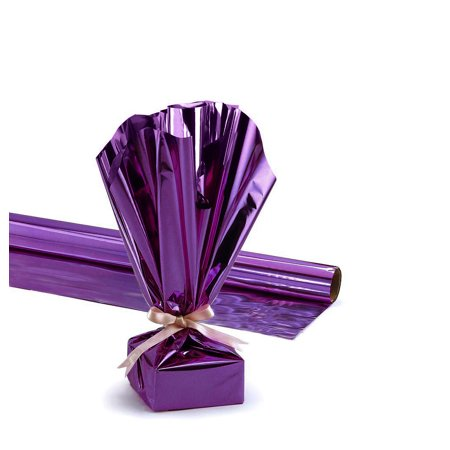 Mylar Gift Wrap Roll, 24 Inches X 25 Feet, Metallic Purple Pkg/1