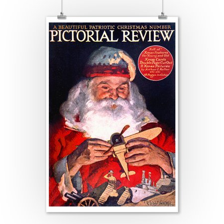 Patriotic Christmas.Pictorial Review Beautiful Patriotic Christmas Number Vintage Poster Artist Keller Usa C 1918 9x12 Art Print Wall Decor Travel Poster
