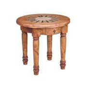 Traditional Round End Table w Marble Inlay