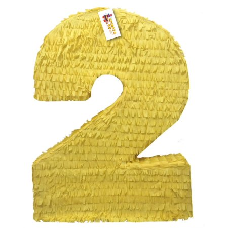 Large Pinatas (APINATA4U Large Solid Yellow Number Two Pinata Second)