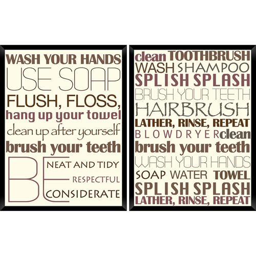 Bathroom Wall Art - Typography - Set of 2 panels - 16 x 13 in.