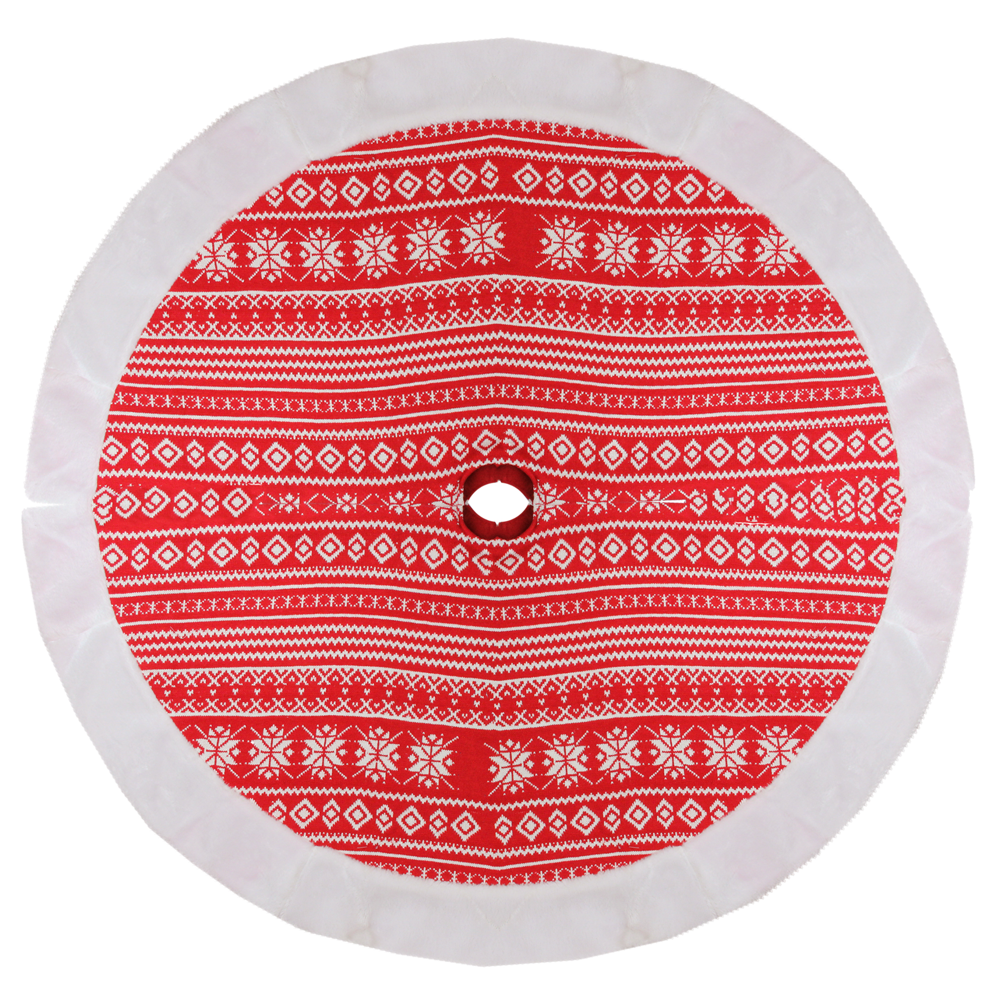 """48"""" Red and White Knitted Snowflake Christmas Tree Skirt with Faux Fur Trim"""
