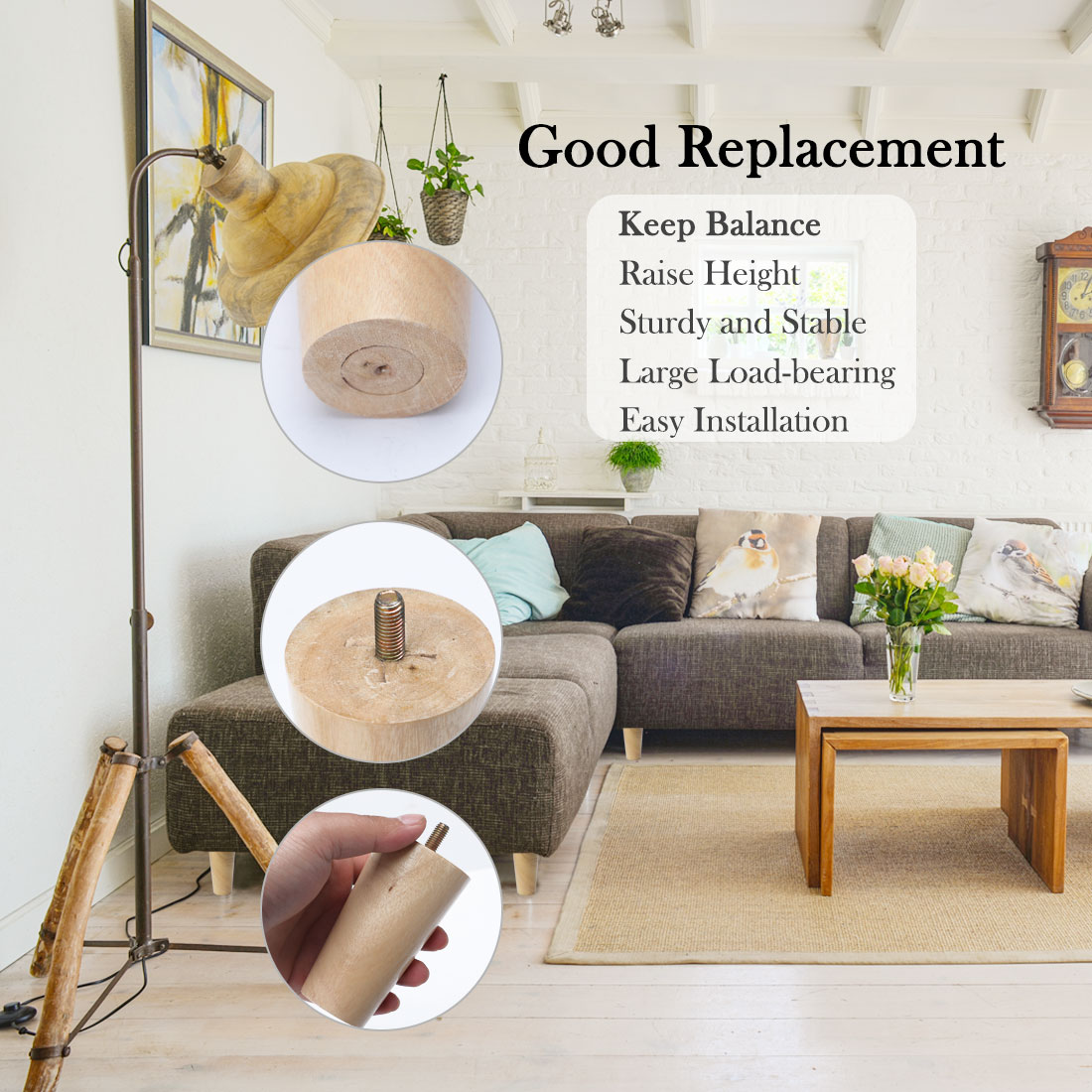 """6"""" Round Solid Wood Furniture Leg Table Chair Feet Adjuster Replacement Set of 8 - image 1 de 7"""