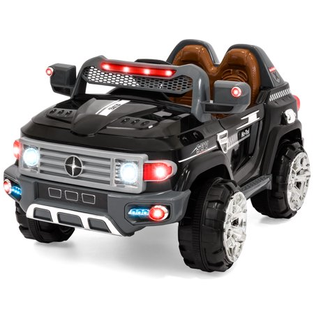 Best Choice Products 12V Kids Battery Powered RC Remote Control Truck SUV Ride-On Car w/ 2 Speeds, LED Lights, MP3, AUX Cord - Black