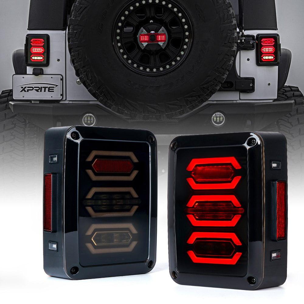 Xprite Smoke Lens G3 Diamond Series Red LED Tail Light Assembly w/ Turn Signal & Back Up For Jeep Wrangler JK JKU 2007 - 2018