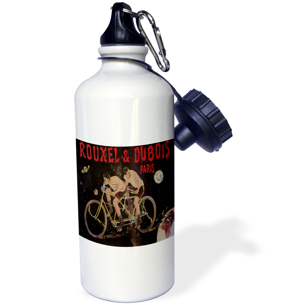 3dRose Rouxel and Dubois Pairs France Tandem Bicycle Poster, Sports Water Bottle, 21oz