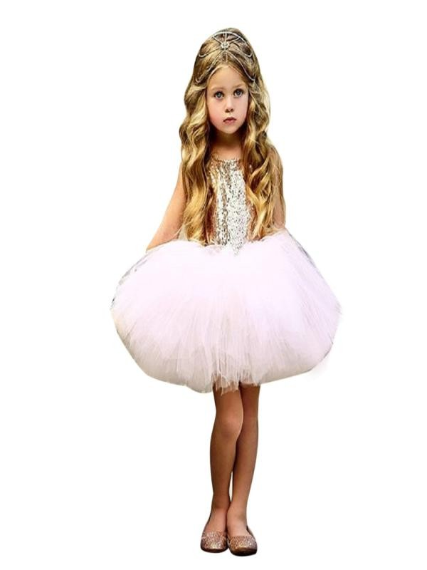 Outtop Toddler Kids Baby Girl Heart Sequins Party Princess Tutu Tulle Dress Outfits