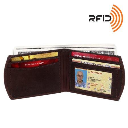 Ross Michaels Mens Genuine Leather Slim Front Pocket Rfid Bifold Wallet