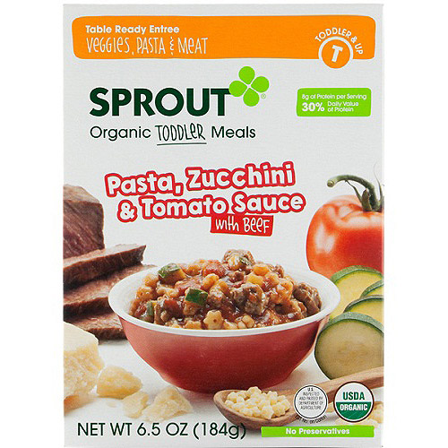 Sprout Organic Toddler Meals Pasta, Zucchini & Tomato Sauce with Beef, 6.5 OZ