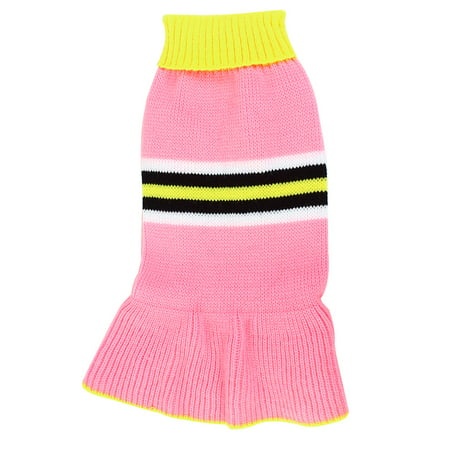 Unique Bargains Pet Puppy Maltese Yellow Pink Ribbed Hem Knit Dress Clothes Sweater Size (Teacup Maltese Puppies For Sale In Atlanta Ga)