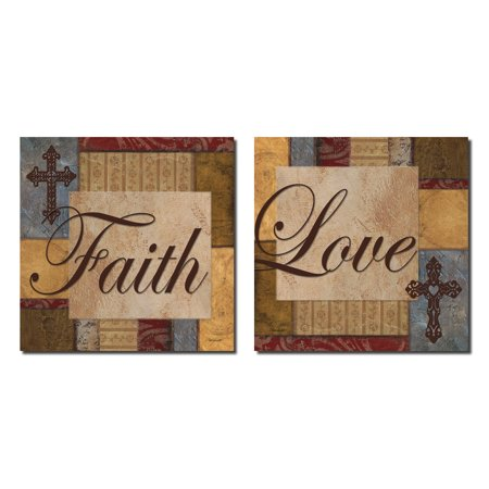 Classic Love and Faith Collage Set; Great Housewarming Gift; Two 12x12in Poster Prints