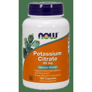 NOW Potassium Citrate Capsules, 99 Mg, 180 Ct