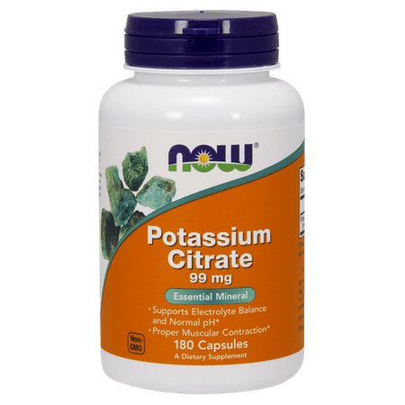 NOW Potassium Citrate Capsules, 99 Mg, 180 Ct