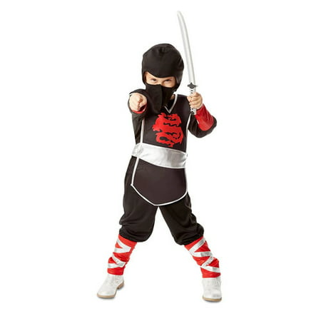 Melissa & Doug Ninja Role Play Costume Set (4 pcs) - Tunic, Pants, Hood, Soft Sword - Pirate Costume Melissa And Doug