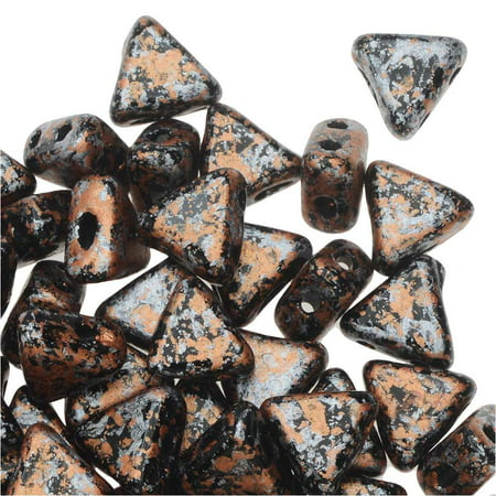 Tweedy Light Copper 9 Gram Kheops Par Puca 6mm 2 Hole Triangle Czech Glass, Loose Beads,