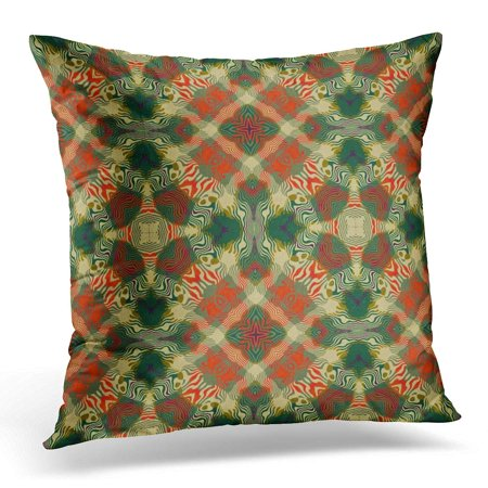 ECCOT Green Check Original Country Flannel Design Pattern Red Cross Pillowcase Pillow Cover Cushion Case 16x16 inch