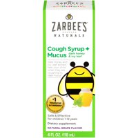 Zarbee's Naturals Children's Cough Syrup + Mucus with Dark Honey, Grape, 4 fl oz
