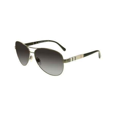 Burberry Women's Gradient BE3080-10038G-59 Gunmetal Aviator Sunglasses ()