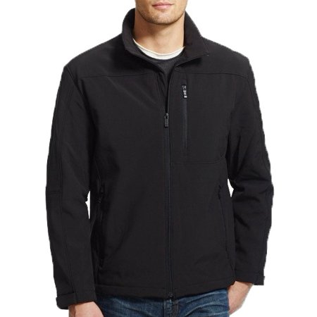 Weatherproof Mens Durable Lightweight Fleece Back Double Layer Softshell Jacket (Black, (Double Layer Jacket)