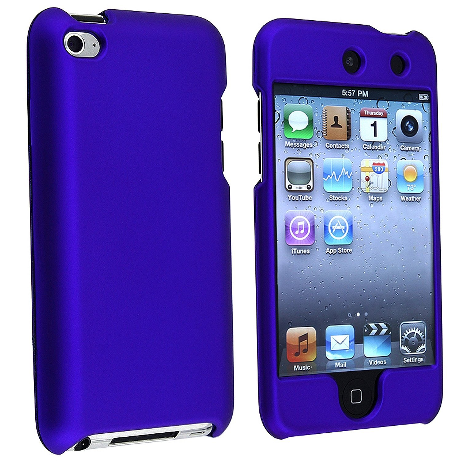 Hard Rubberized Case for iPod Touch 4th Gen - Blue