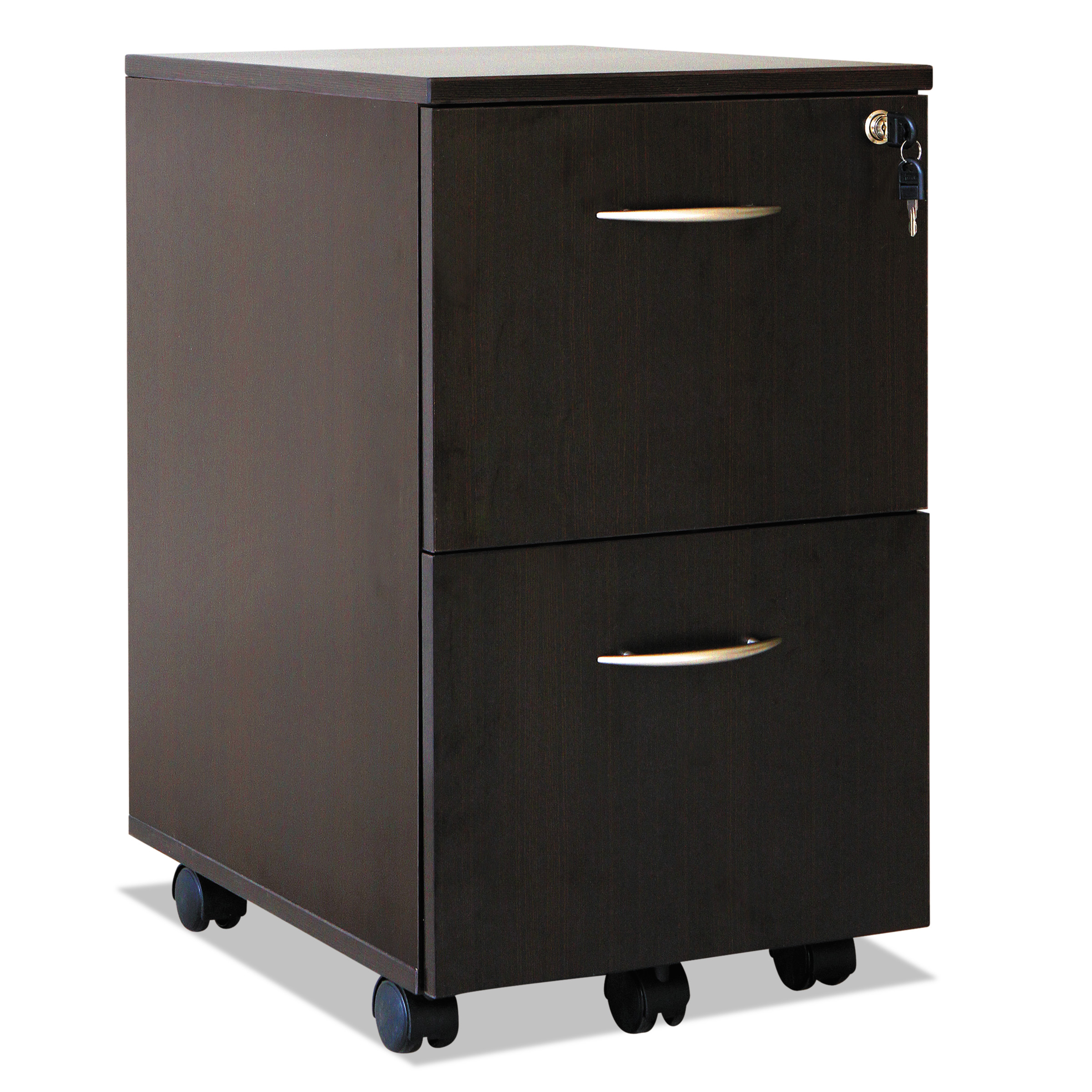 Alera 2 Drawers Vertical Lockable Filing Cabinet, Espresso