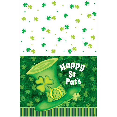 "Plastic Saint Patrick's Day Striped Table Cover, 84"" x 54"""