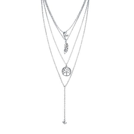 Lux Accessories Silvertone Clean Boho Tree Life Feather Layered Sexy-Y (Plated Feather Necklace)