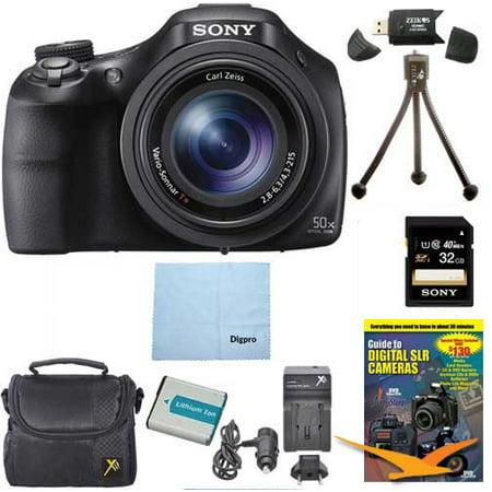 Sony DSC-HX400V/B DSCHX400VB DSCHX400V HX400 20 MP Digital Camera Bundle with 32GB High Speed Card, Spare Battery, Rapid AC/DC External Charger, Padded Case, DVD Photography Tutorial, SD Card Reader