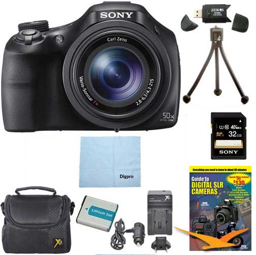 Sony DSC-HX400V/B DSCHX400VB DSCHX400V HX400 20 MP Digital Camera Bundle with 32GB High Speed Card, Spare Battery, Rapid AC/DC External Charger, Padded Case, DVD Photography Tutorial, SD Card Reader