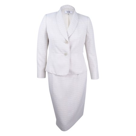 Shawl Collar Skirt Suit (Le Suit Women's Shawl-Collar Tweed Skirt Suit)